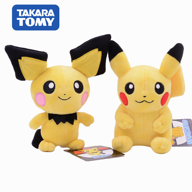 20cm Takara Tomy Pokemon Pichu Plush Lovely Pikachu Juvenile Version Evolution Toy Hobby Collection Doll Kawaii Gift For Girl