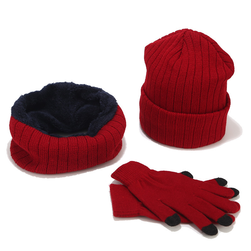 Women Winter Hat Scarf Gloves Set For Men Kitted Thicken Warm Plus Velvet Hat Girl Fashion Soft Solid Female Cap