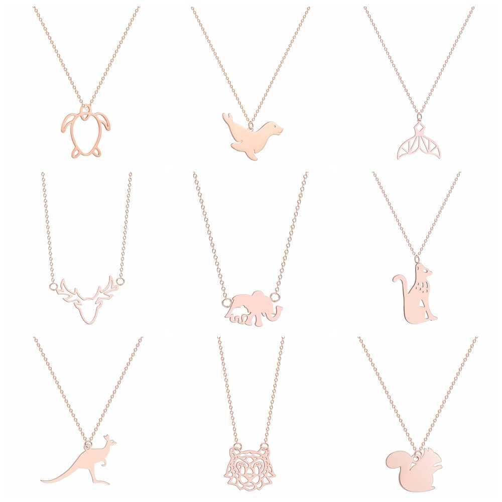 動物ジュエリーネックレスクマネックレスパンダネックレス虎猫鳥象のペンダントゴールド & ローズゴールド & シルバー色