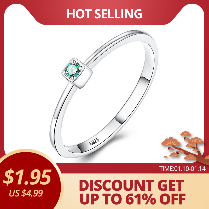 CZCITY Genuine 925 Sterling Silver VVS Green Topaz Wedding Rings for Women Minimalist title=