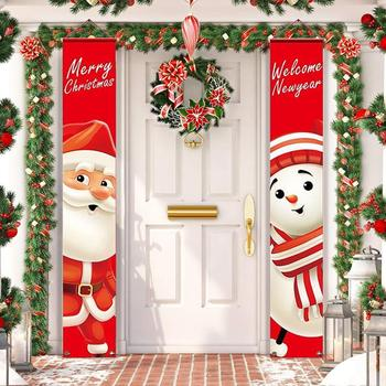HUIRAN Welcome Merry Christmas Hanging Door Banner Ornaments Christmas Decorations for Home Outdoor Xmas Decor New Year Natal недорого