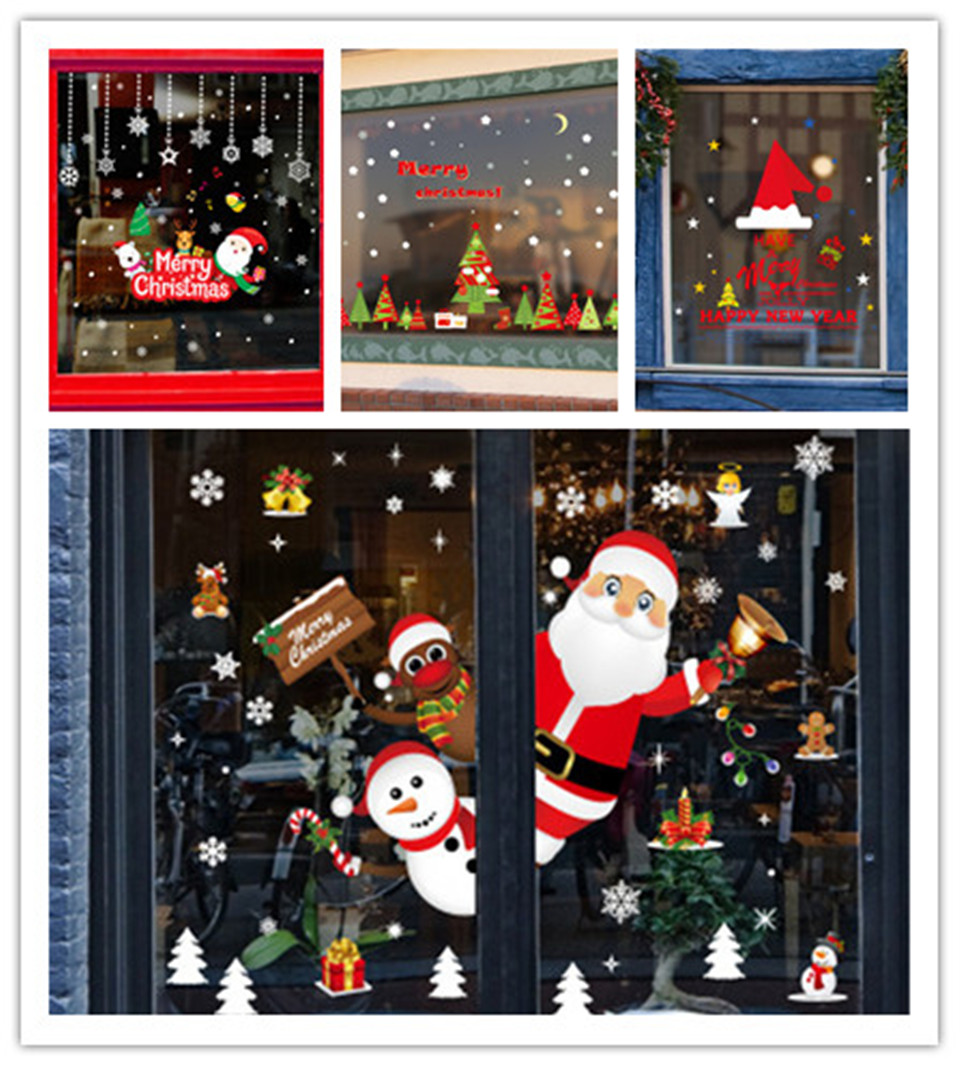 Christmas Decoration Wall Sticker Self Adhesive Diy For Shop Window Glass Scene Layout Living Room Bedroom Renovation Wallpaper Wall Stickers Aliexpress,6 Bedroom Single Story Simple 5 Bedroom House Plans