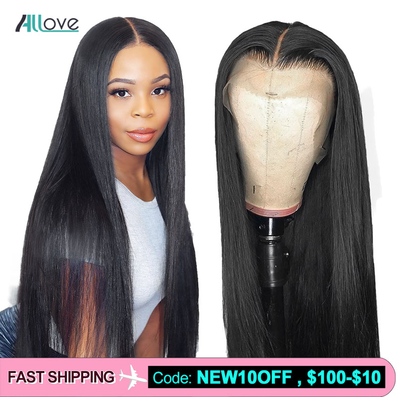 Allove 360 Lace Frontal Wig Pre Plucked With Baby Hair Malaysian Straight Human Hair Wigs 13x4 13x6 Lace Front Human Hair Wigs