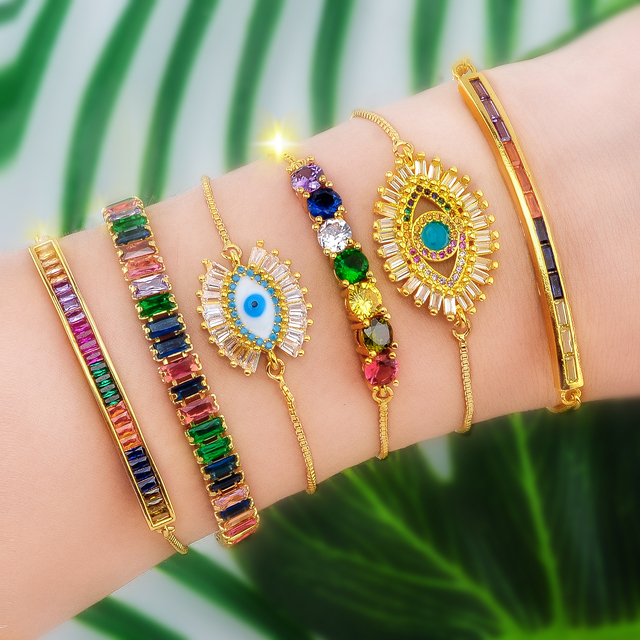 Hot Gold Zirconia Bracelet Bangle Women's Rainbow Shell Luxury Adjustable Heart Evil Eye Snake Chain