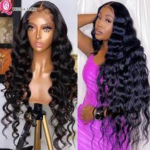 Perruque Lace Front Wig Loose Wave péruvienne naturelle, cheveux humains, 6x6, 30 pouces, pour femmes