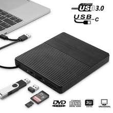 Drive de DVD externo USB 3.0/Tipo-C Unidade Óptica portátil DVD RW CD burner Suppot SD Leitor de cartões para Macs Windows Laptop PC
