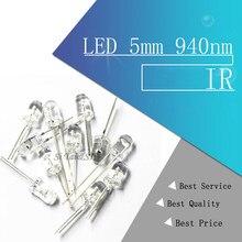 100 pces led 5mm 940nm ir infravermelho emitindo tubo redondo diodo de luz