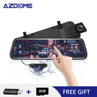 AZDOME PG02 10 Mirror Dash Cam With GPS Streaming Media Full Screen Touching ADAS Dual Lens Night Vision 1080P + 720P Car DVRs