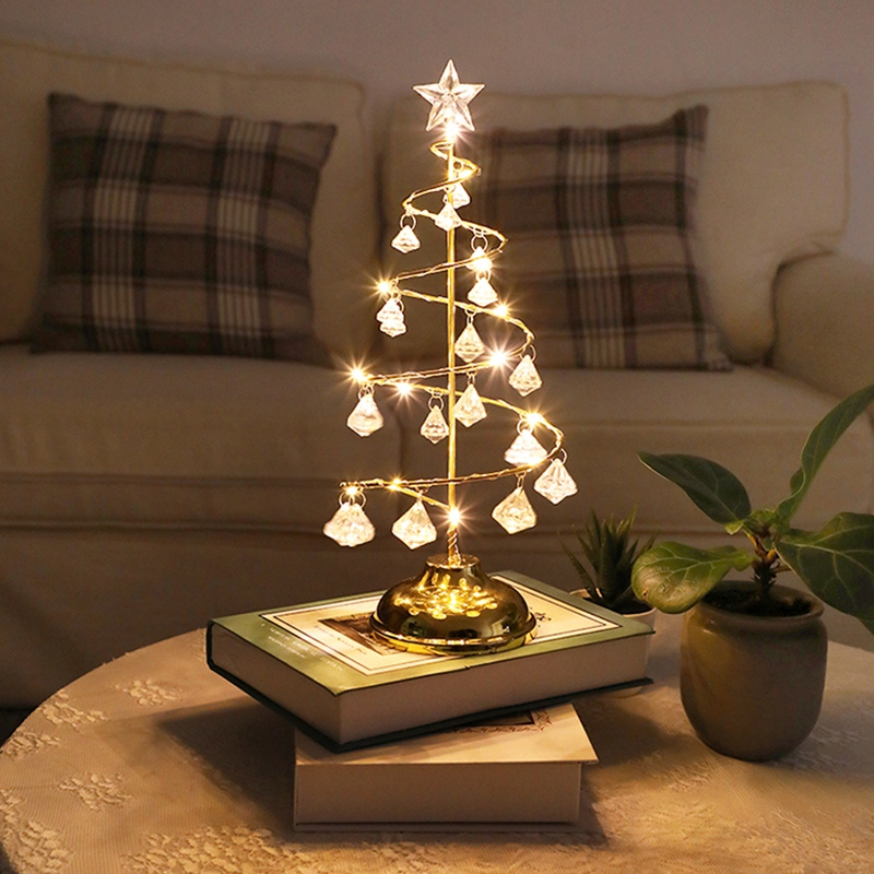 Led Christmas Lights Crystal Christmas Tree Lights Room Bedroom Table Lamp Copper Line Night Light Copper Wire Night Light (warm