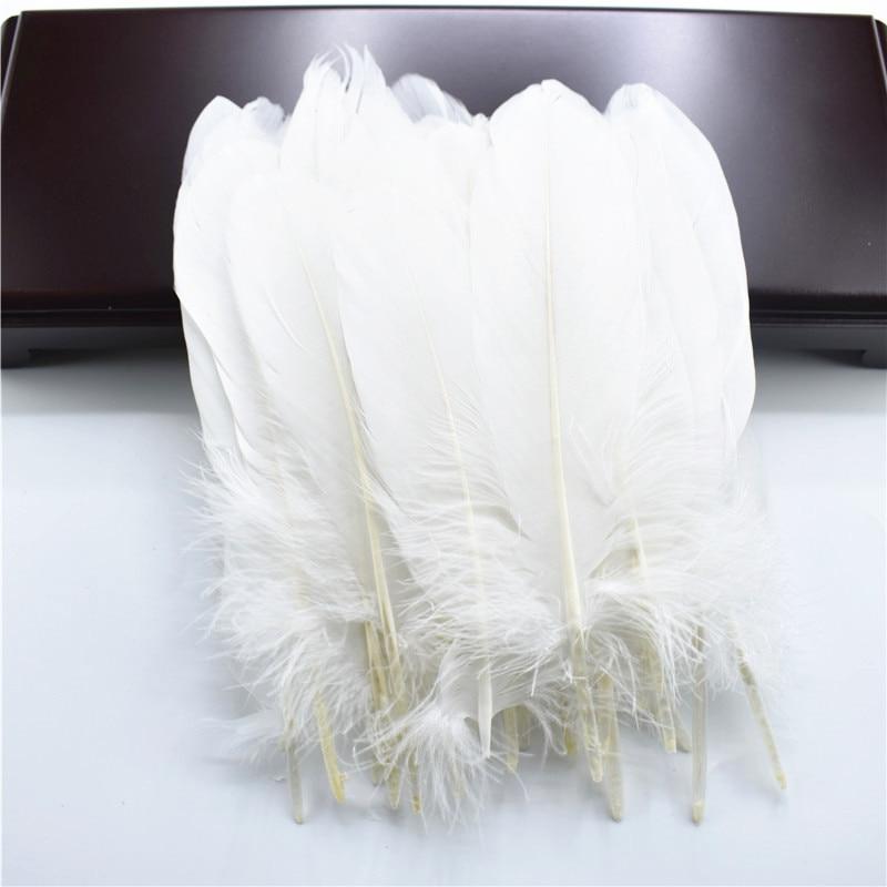 Жесткий полюс, натуральные гусиные перья для рукоделия, 5-7 дюймов/13-18 см, самодельные ювелирные изделия, перо, свадебное украшение для дома - Цвет: White