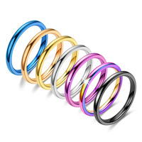 Stainless Steel Rings for Women Men Fashion Colorful Titanium Steel Ring Women Smooth Simple Wedding Couples Korean Jewelry Gift