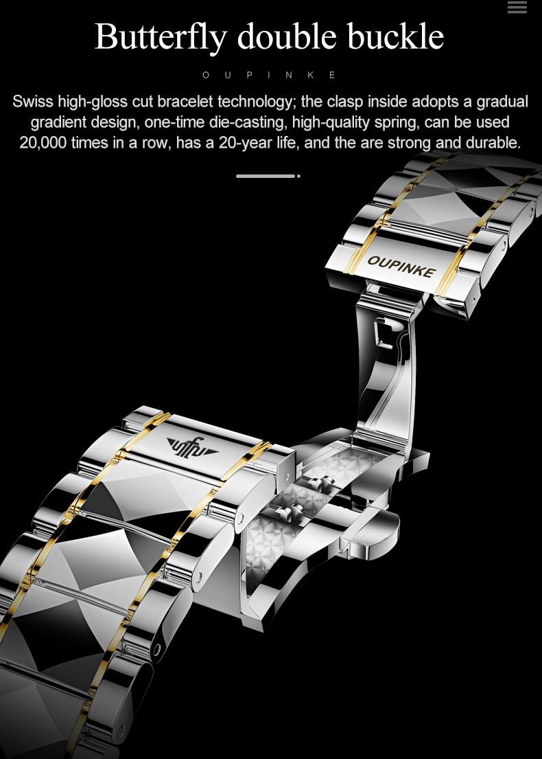 automático negócios de aço tungstênio mecânico safira cristal relógio de pulso