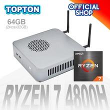Mini pc quente ryzen 7 4800h 8 núcleo 16 threads nuc gaming computador m.2 pcie radeon gráficos htpc 3*4k hdmi2.0 dp tipo-c wifi6 bt5.1