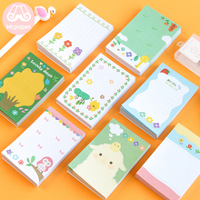 Mr Paper 100pcs/lot Cute Cartoon Animals Plants Flowers Loose Leaf Memo Pads Minimalist Write Down Points Child Gifts
