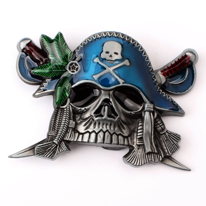 Skull skeleton belt buckle Belt DIY accessories Western cowboy style Smooth belt buckle Punk rock style k27