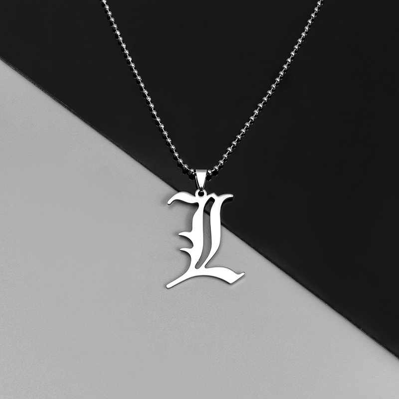 Death Note L Lawliet Necklace Stainless Steel Old English Letter Pendant Beads Chain Necklaces Cosplay Jewelry Accessories
