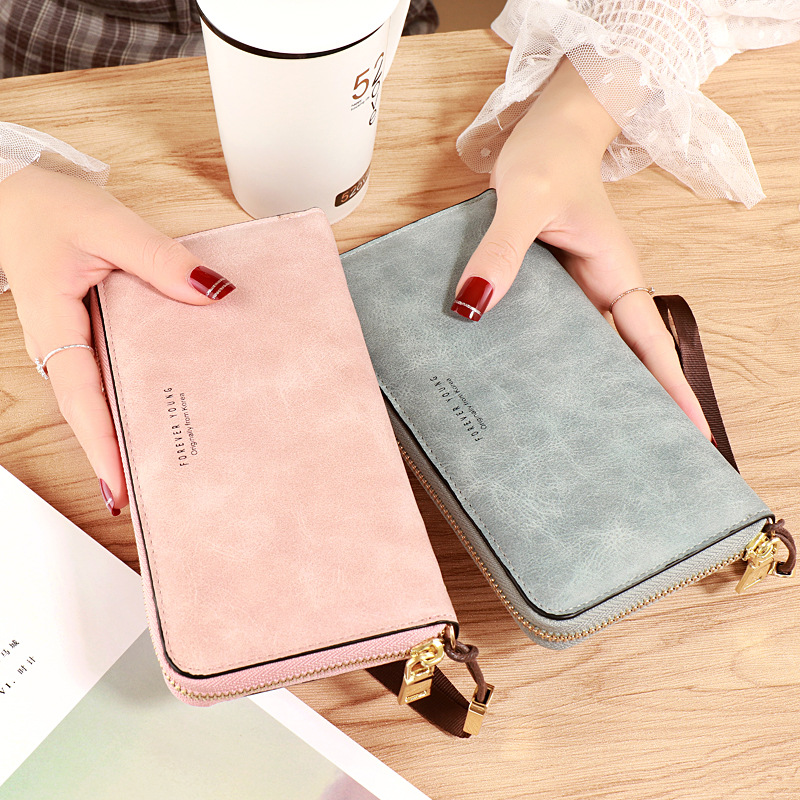 Leather Women Wallets Zipper Pocket Ladies Purse Famous Brand Designer Wallet Women Long Card Holder 2019 Female Clutch W087