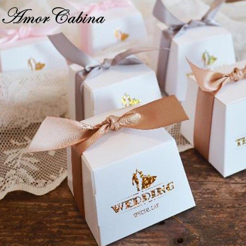 50pcs européenne petit frais blanc bronzant trapézoïdal boîte à bonbons fête romantique mariage cadeau boîte merci boîte de chocolat