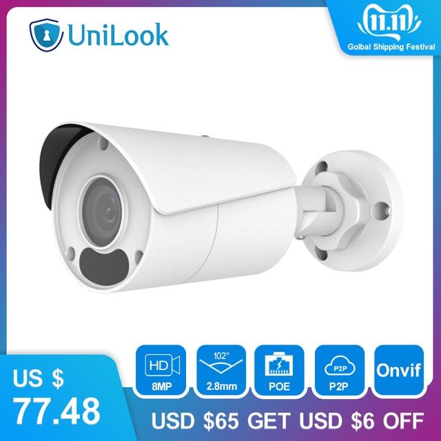 Uniview (Hikvision Compatible) 8MP Bullet กล้อง IP PoE ONVIF บ้าน/กลางแจ้งกล้องวงจรปิดการเฝ้าระวังความปลอดภัย Night Vision IPC UNB180W