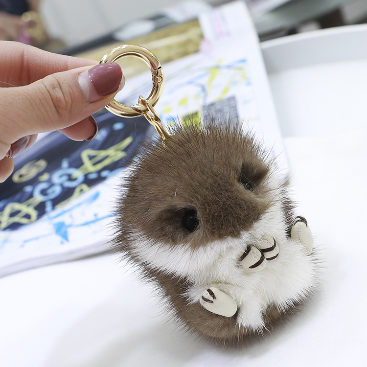 Mink fur mini super cute hamster doll pendant lovely hamster doll pendant Super cute bag pendant key chain