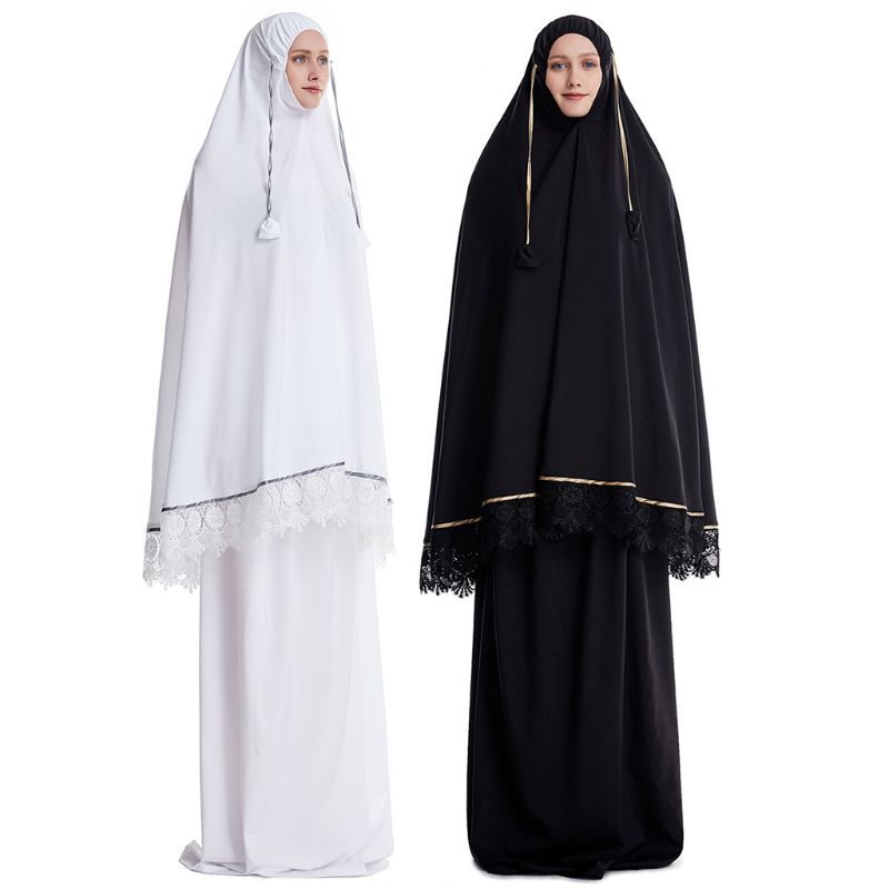 2pcs Muslim Women Traditional Robe Abaya Dress Double Layer Large Scale Mosque Lace Trim Hijab Gown Islamic Prayer Sets
