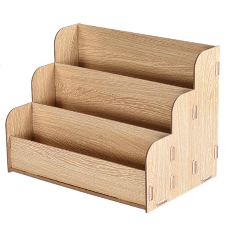 Diy Desktop A4 Wooden File Rack Multifunctional Creative Finishing Office Storage Box Information Rack Office Storage Rack