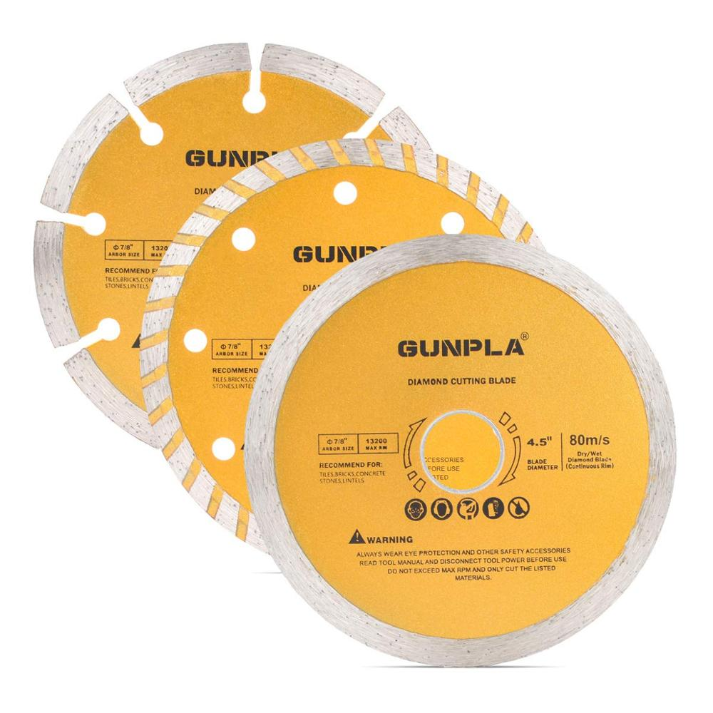 1 Piece 115mm Diamond Cutting Blade Continuous/ Segmented/ Turbo Rim Dry Wet Circular Saw 4.5 Inch Cutter Angle Grinder Disc 7/8 Inch Arbor 22.2mm With Reducing Ring 5/8 Inch For Tile Masonry