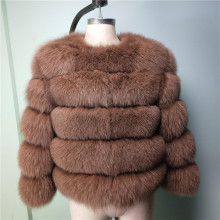 Womens fox fur coat warm natural leather jacket ladies winter fashion short luxury thick womens jack