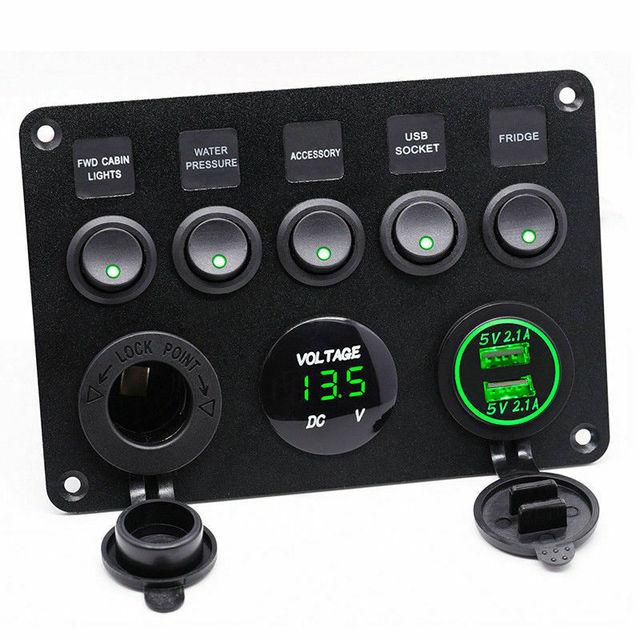5 Gang przełącznik łodzi 12V listwa sieciowa woltomierz 4.2A ładowarka z podwójnym portem USB dla samochodów łódź Marine RV Panel dźwigni przełączniki