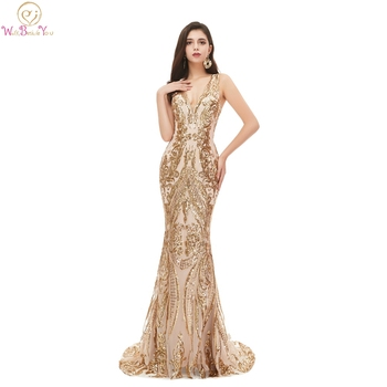 Champagne Sequined Mermaid Long Evening Dresses 2020 Sexy Deep V-Neck Sleeveless Elegant Formal Gown robe de soiree abendkleider - discount item  35% OFF Special Occasion Dresses