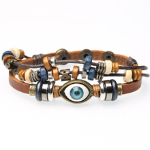 Bracelet beaded eye leather charm adjustable leather bracelet for men and women