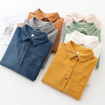 EYM Brand Solid Color Women's Corduroy Shirt 2021 Spring New Women Long Sleeve Blouse Casual Large Size Loose Blouses Lady Tops 2