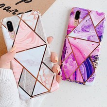 Geometric Marble Flower Leaf Case for Huawei P20 P30 lite Pro Vintage Soft Silicone TPU Case for Huawei Mate 20 lite Pro(China)