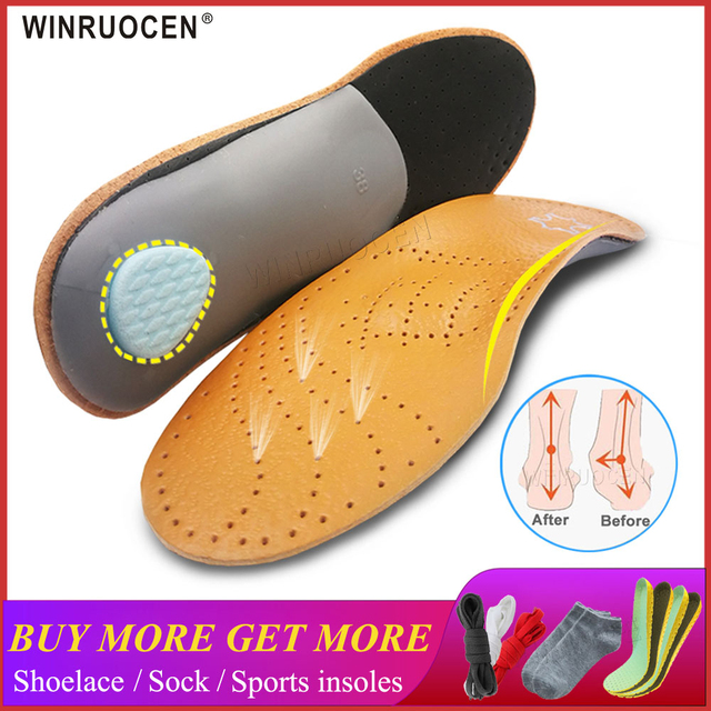 WINRUOCEN Leather Latex Orthopedic Foot Care Insole Antibacterial Active Carbon Orthotic Arch Support Instep Flat Foot Shoe Pad