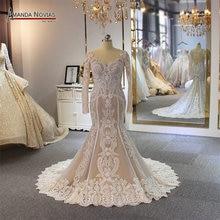 الدانتيل حورية البحر فستان الزفاف العملاء النظام اللون 2019 فستان عروس