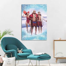 No Frame Baywatch Movie Poster HD Print Canvas Painting Home Decor Dwayne Johnson and Bikini Girl Canvas Art Wall Pictures Gifts худи print bar baywatch