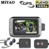 Видеорегистратор для мотоцикла, Экшн-камера, фронтальная и задняя камера, двойной объектив, водонепроницаемый мотоцикл, видеорегистратор н...