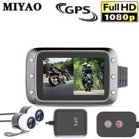 Motocicleta Ação Gravador Câmera DVR Vista Frontal e Traseira de Lente Dupla Traço Cam Night Vision Gravador de Vídeo À Prova D' Água Da Motocicleta