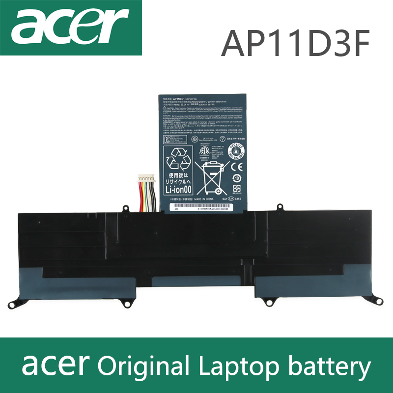 Original Laptop battery For acer Aspire S3 S3-951 S3-391 MS2346 <font><b>AP11D3F</b></font> AP11D4F 3ICP5/65/88 3ICP5/67/90 11.1V 3280mAh <font><b>AP11D3F</b></font> image