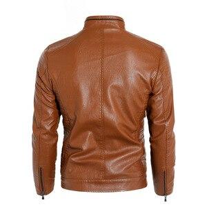 Image 4 - 新2019秋と冬モデルプラスベルベット男性の襟襟puオートバイの革のジャケットジャケット