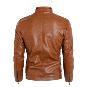 Image 4 - חדש 2019 סתיו וחורף מודלים בתוספת קטיפה גברים של עור צווארון צווארון PU אופנוע עור מעיל מעיל