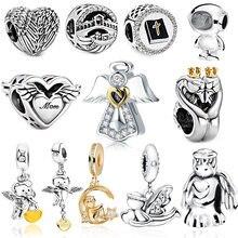 2021 Hot Sale 925 Sterling Silver Bead Angel Wings Charm Fit Original Pandora Bracelet Women Love Heart Jewelry Anniversary Gift
