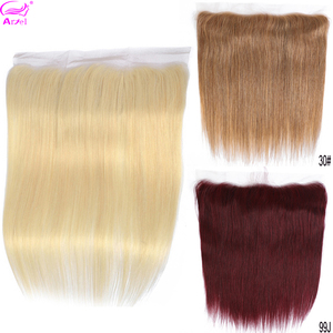 613 Straight Frontal Closure 27 30 99j Lace Frontal Closure Brazilian 13x4 Remy Ear To Ear Blonde Lace Frontal Closure Ariel(China)