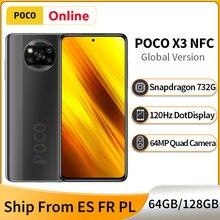 Poco x3 nfc 6gb 64gb/128gb versão global celular snapdragon 732g 120hz exibição 64mp quad câmera 5160mah 33w carga