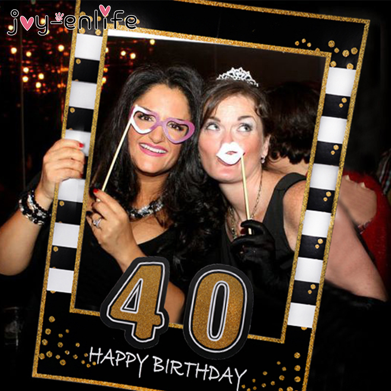 1st 21st 30th 40th <font><b>50th</b></font> 60th Photo Booth Frame Happy <font><b>Birthday</b></font> Photobooth Props Baby 1st <font><b>Birthday</b></font> Party <font><b>Decoration</b></font> Photo Booth image