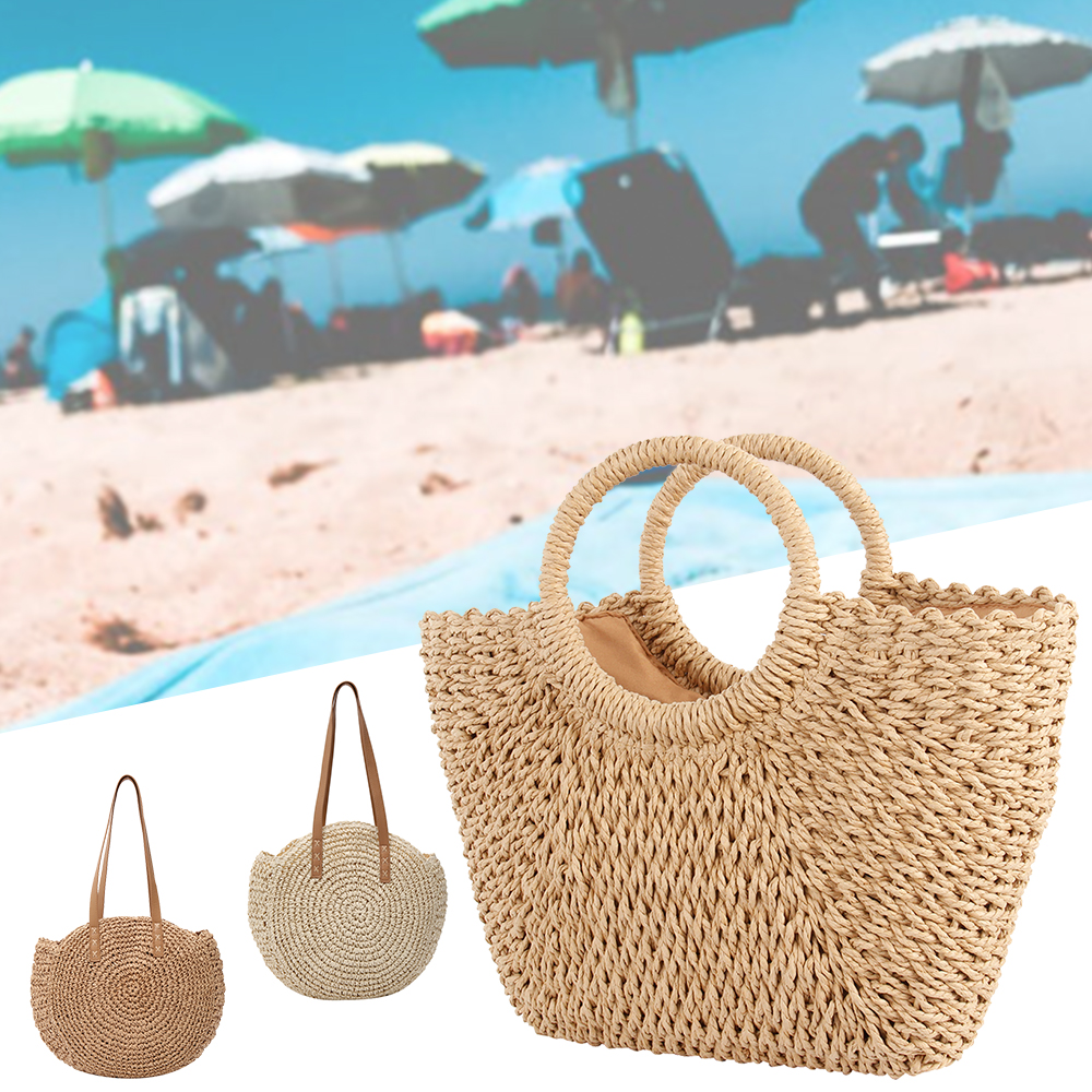 Straw Bag Women's Summer Rattan Bag Handmade Woven Circle Bohemia Beach Handbag Wicker Bag Bolso Mimbre