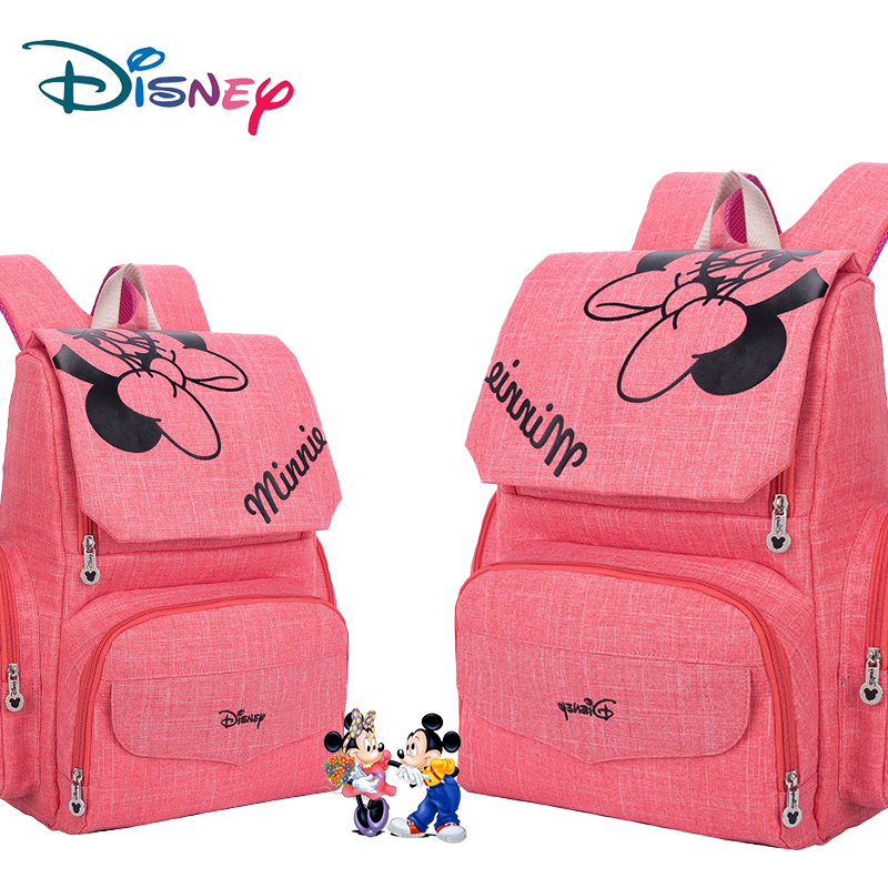 Disney Mummy Diaper Bag Maternity Nappy Nursing Bag For Baby Care Travel Backpack Designer Mickey Minnie Pink And Gray Handbags