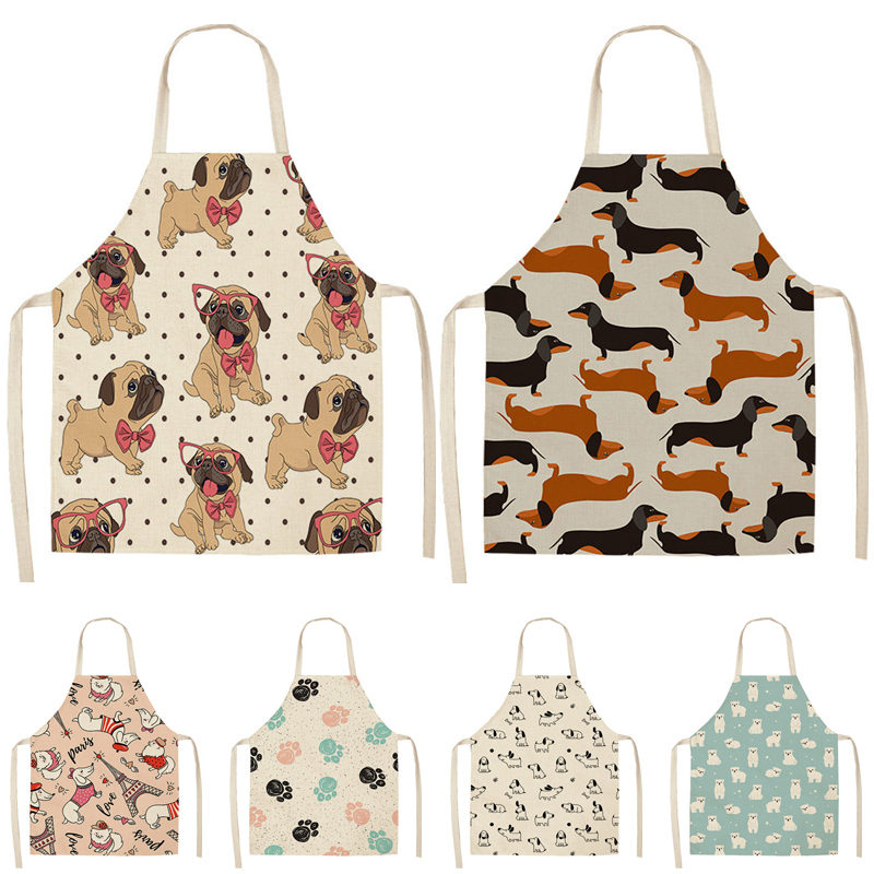 Bulldog Dachshund Printed Kitchen Apron For Woman Sleeveless Cotton Linen Bib 53*65cm Home Cooking Baking Cleaning Tool WQ0037