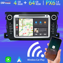 Android 10.0 PX6 4G + 64G Auto Dvd Multimedia Speler Voor Mercedes Benz Smart Fortwo 2012 2013 2014 2015 Gps Navi Radio Carplay Dsp