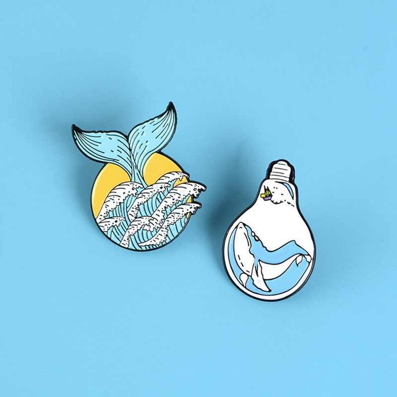 Wave Pin Lamp Mermaid Staart Broches Zomer Oceaan Zee Dier Reversspeldjes Enim Shirt Revers Pin Cartoon Grappige Sieraden Gift voor Kids